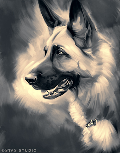 German Shepherd Paintings