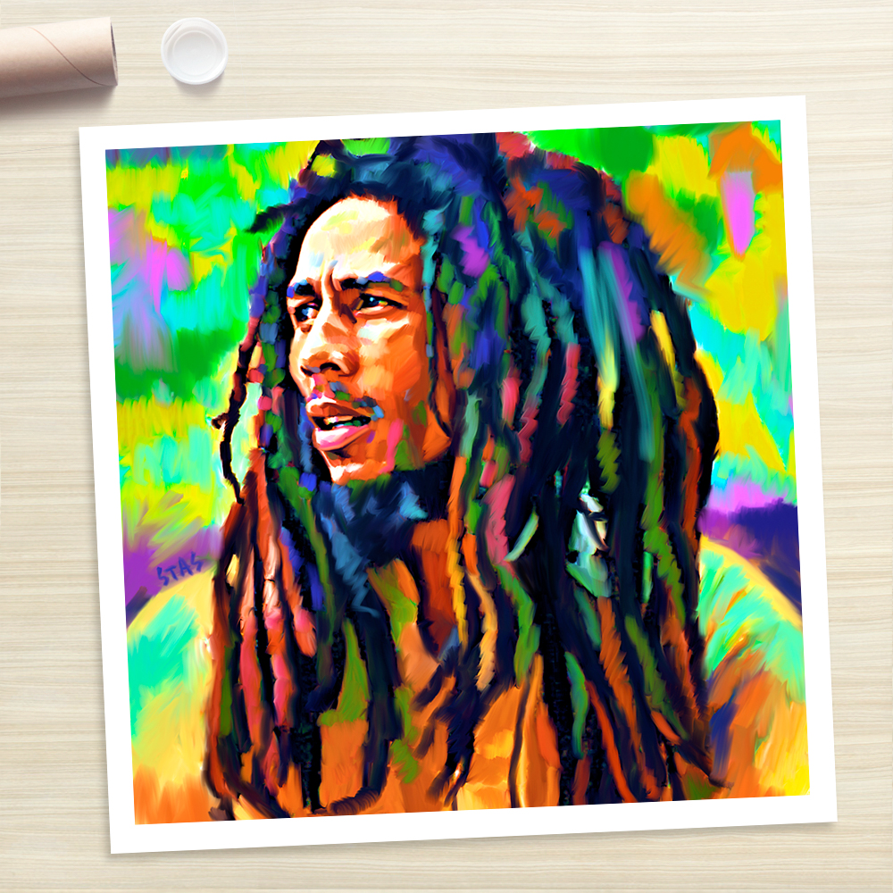 Bob marley reggae painting poster canvas art print rolled for Canvas roll for painting